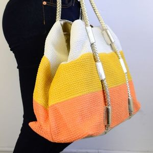 Tri-Color Straw Extra large Tote  Bag
